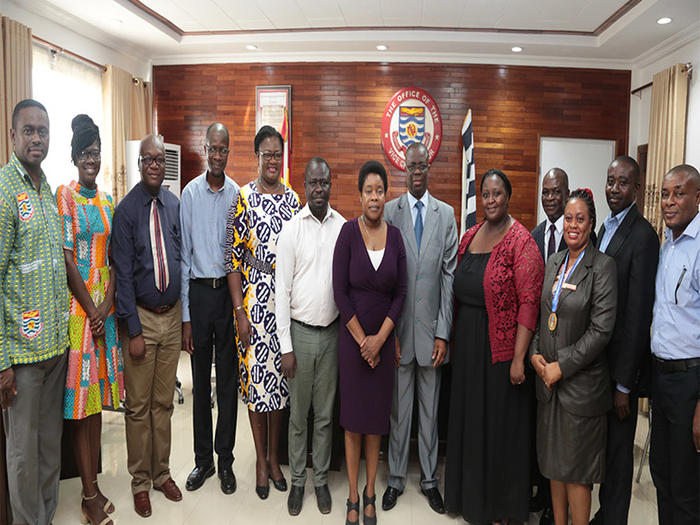 The delegation from University of KwaZulu-Natal with the Vice-Chancellor and other officials of UCC